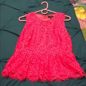 Pink Lace peplum top fully lined!